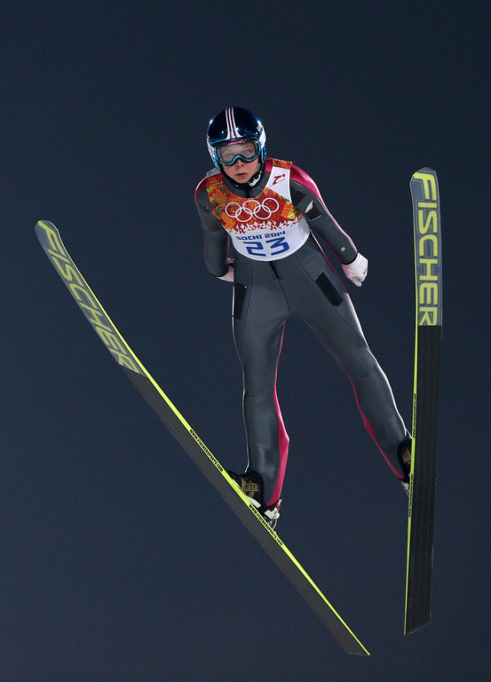 . Norway\'s Maren Lundby makes her trial jump in the women\'s ski jumping normal hill final at the 2014 Winter Olympics, Tuesday, Feb. 11, 2014, in Krasnaya Polyana, Russia. (AP Photo/Matthias Schrader)