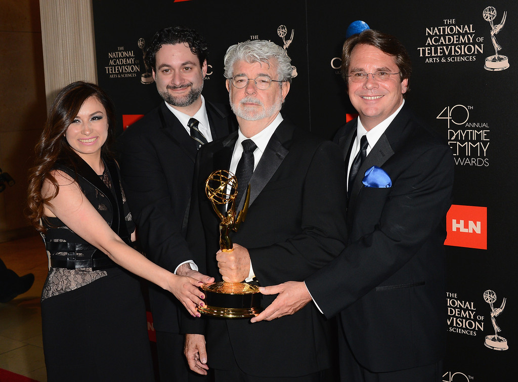 """. (L-R) Athena Portillo, Dave Filoni, George Lucas and Cary Silver pose with the Outstanding Special Class Animated Program award for \""""Star Wars: The Clone Wars\"""" in the press room during The 40th Annual Daytime Emmy Awards at The Beverly Hilton Hotel on June 16, 2013 in Beverly Hills, California.  (Photo by Mark Davis/Getty Images)"""