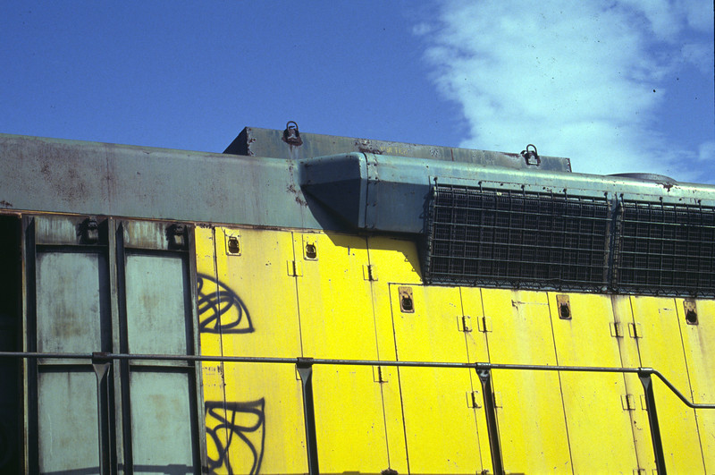 C&NW SD45 radiator flare. July 1992. <i>(Don Strack Photo)</i>