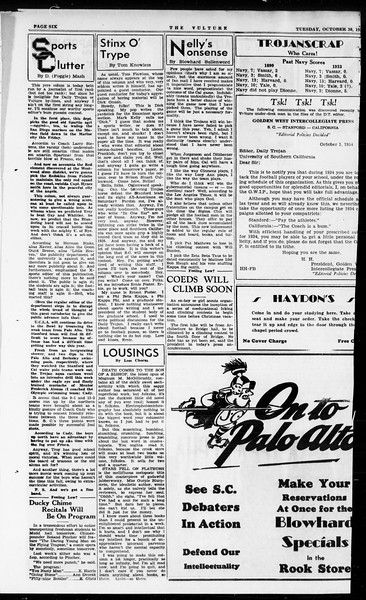 The Vulture, Vol. 1, No. 1, October 30, 1934