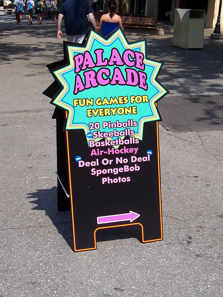 A Palace Arcade signboard.