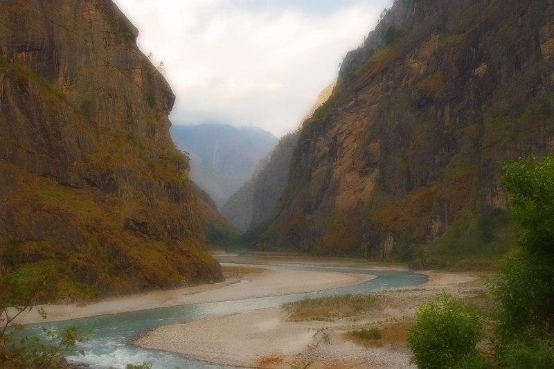 Variant of a valley scene on the Manaslu trail - Near Dobhan.