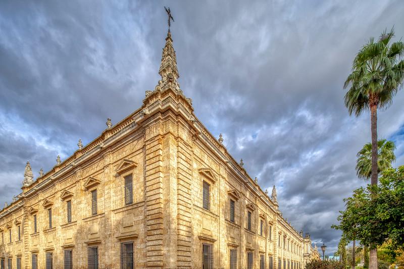 Southwest corner of the former Royal Tobacco Factory building, Seville, Spain.