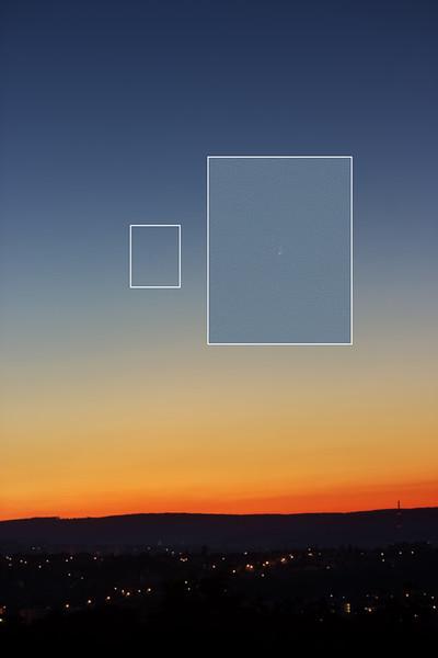 Zatím můj jediný snímek komety C/2020 F3 Neowise, pořízený výslovně naslepo (v triedru už jsem ji nebyl schopen najít). Ve 100% výřezu je vidět i náznak ohonu. V triedru byla cestou na focení moc pěkná.
