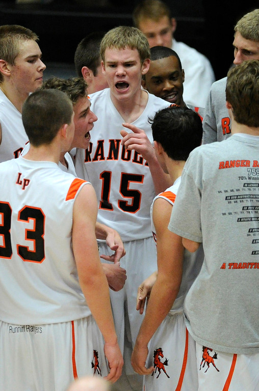 . Rangers guard Dylan Tucker (15) had the squad fired up in the second half. The Lewis-Palmer High School boy\'s basketball team defeated Broomfield 75-53 Friday night, December 7, 2012.  Karl Gehring/The Denver Post