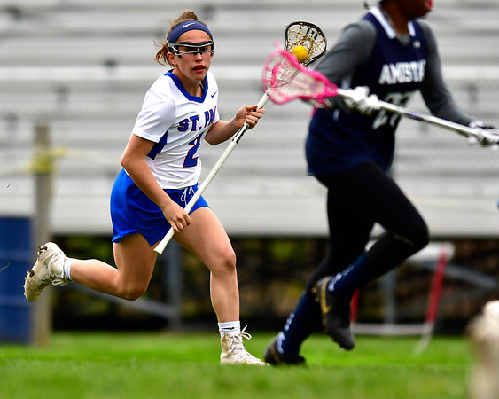 5/2/2019 Mike Orazzi | Staff St. Paul's Catherine Ciampi (2) during Thursday's girls lacrosse with Amistad in Bristol.