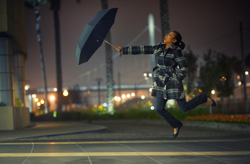 Tonight, Tu and I went out to take some photos.  She brought along an umbrella and we let the wind carry us away.
