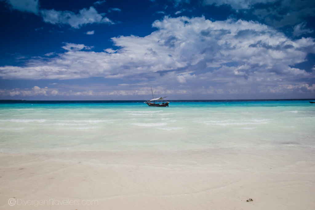 white sand beach in Zanzibar