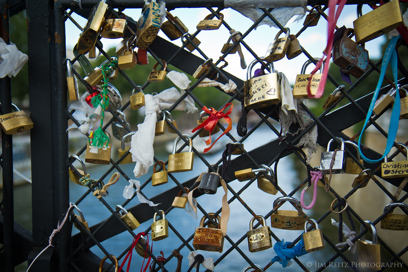 Padlocks with lovers' names are locked to this section of a bridge over the Seine, near Notre Dame.