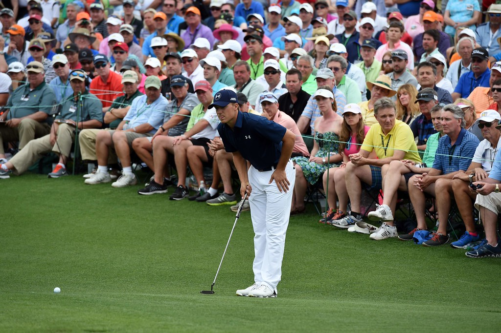 . Jordan Spieth of the US lines a putt during Round 4 of the 79th Masters Golf Tournament at Augusta National Golf Club on April 12, 2015, in Augusta, Georgia. DON EMMERT/AFP/Getty Images