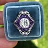 2.27ct (est) Art Deco Old European Cut Diamond with Amethyst Halo Ring 36