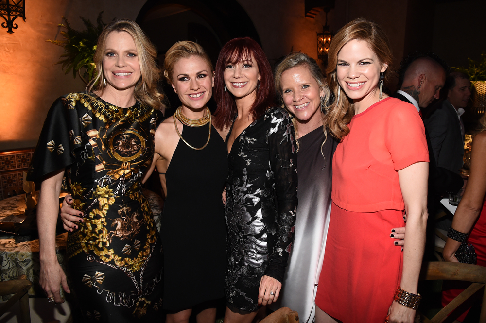 ". (L-R) Actresses Kristin Bauer van Straten, Carrie Preston, Anna Paquin, stunt double Heidi Pascoe and actress Mariana Klaveno attend Premiere Of HBO\'s ""True Blood\"" Season 7 And Final Season After Party on June 17, 2014 in Hollywood, California.  (Photo by Michael Buckner/Getty Images)"