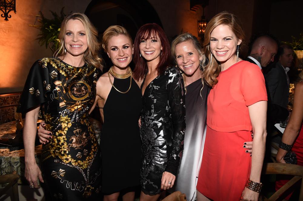 Description of . (L-R) Actresses Kristin Bauer van Straten, Carrie Preston, Anna Paquin, stunt double Heidi Pascoe and actress Mariana Klaveno attend Premiere Of HBO's