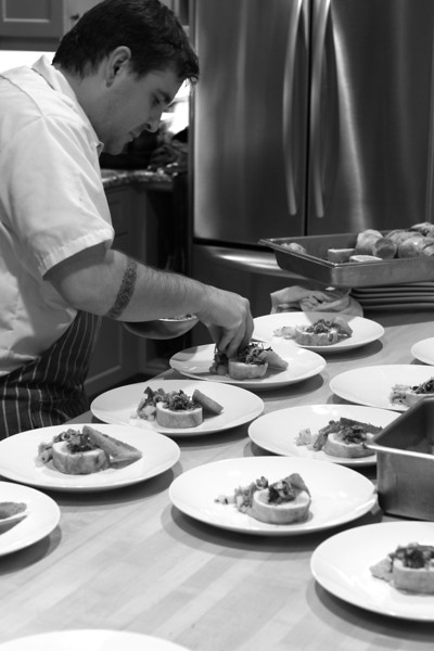 """CHEF PAUL BACHAND OF """"RECIPE"""",  BUSY CREATING HIS CULINARY MASTERPIECES"""