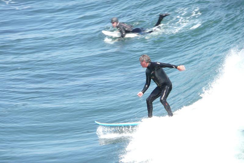 Surfers at Steamer Lane. Santa Cruz