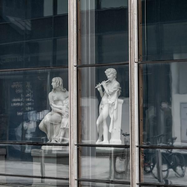 Sculptures in store window, City of Cork, County Cork, Ireland