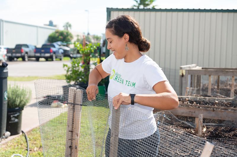 Melissa Zamora volunteers at the Islander Green Garden.