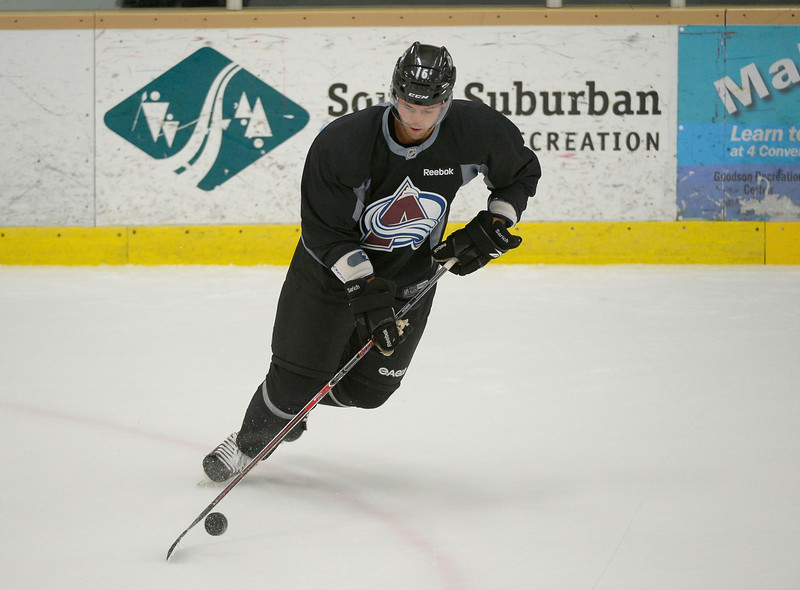 . Colorado Avalanche D Cory Sarich (16) skates with the puck during practice September 9, 2013 at Family Sports. (Photo By John Leyba/The Denver Post)