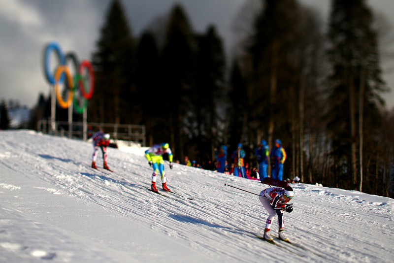. (EDITORS NOTE: A TILT AND SHIFT LENS WAS USED IN THE CREATION OF THIS IMAGE) Maiken Caspersen Falla of Norway (R) leads the pack in the Finals of the Ladies\' Sprint Free during day four of the Sochi 2014 Winter Olympics at Laura Cross-country Ski & Biathlon Center on February 11, 2014 in Sochi, Russia.  (Photo by Doug Pensinger/Getty Images)