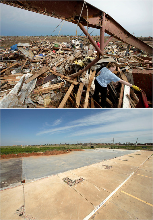 . In this photo combination, Katie Thomas sorts through debris at a friend\'s tornado-ravaged daycare on May 21, 2013, in Moore, Okla., top. A concrete slab is all that remains of the shopping center that contained the daycare on May, 8, 2014, bottom. (AP Photo/Charlie Riedel)