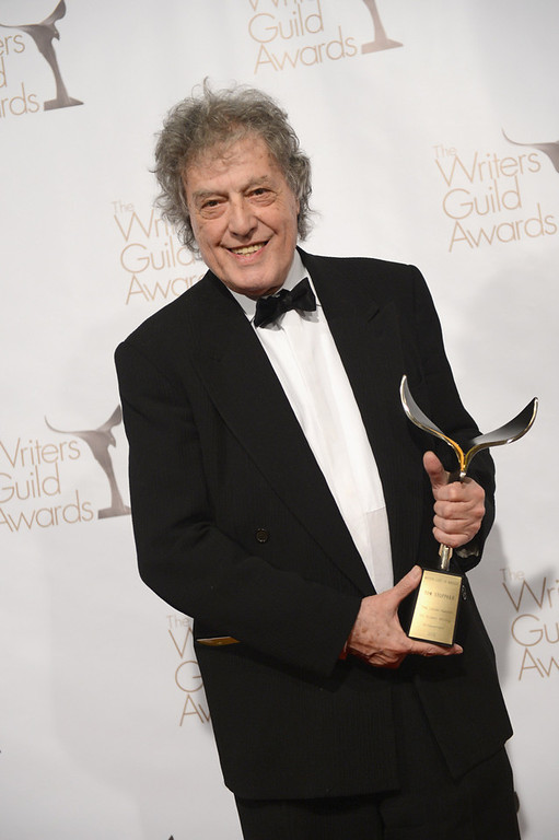 . Writer Tom Stoppard poses with The Laurel Award for Screen Writing Achievement  in the press room during the 2013 WGAw Writers Guild Awards at JW Marriott Los Angeles at L.A. LIVE on February 17, 2013 in Los Angeles, California.  (Photo by Jason Kempin/Getty Images for WGAw)