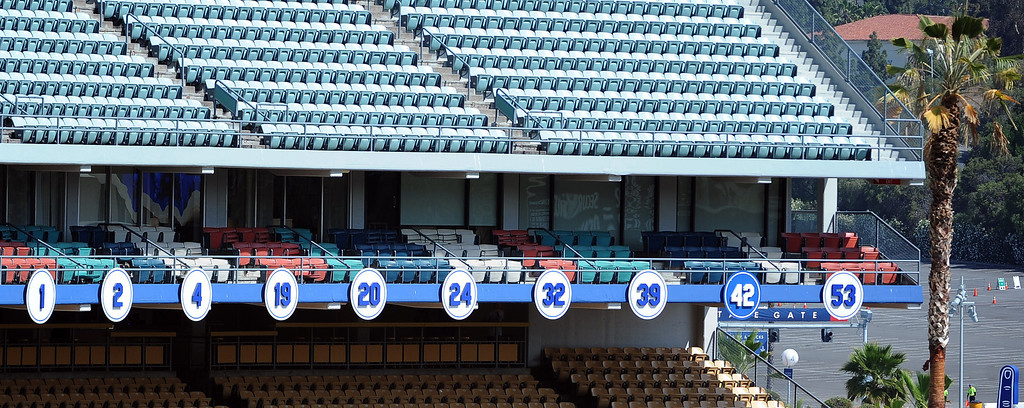 . Los Angeles Dodgers retired numbers prior to a Major league baseball game against the San Francisco Giants on Saturday, May10, 2013 in Los Angeles.   (Keith Birmingham/Pasadena Star-News)
