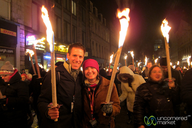 Carrying Torches in Edinburgh's Torchlight Procession