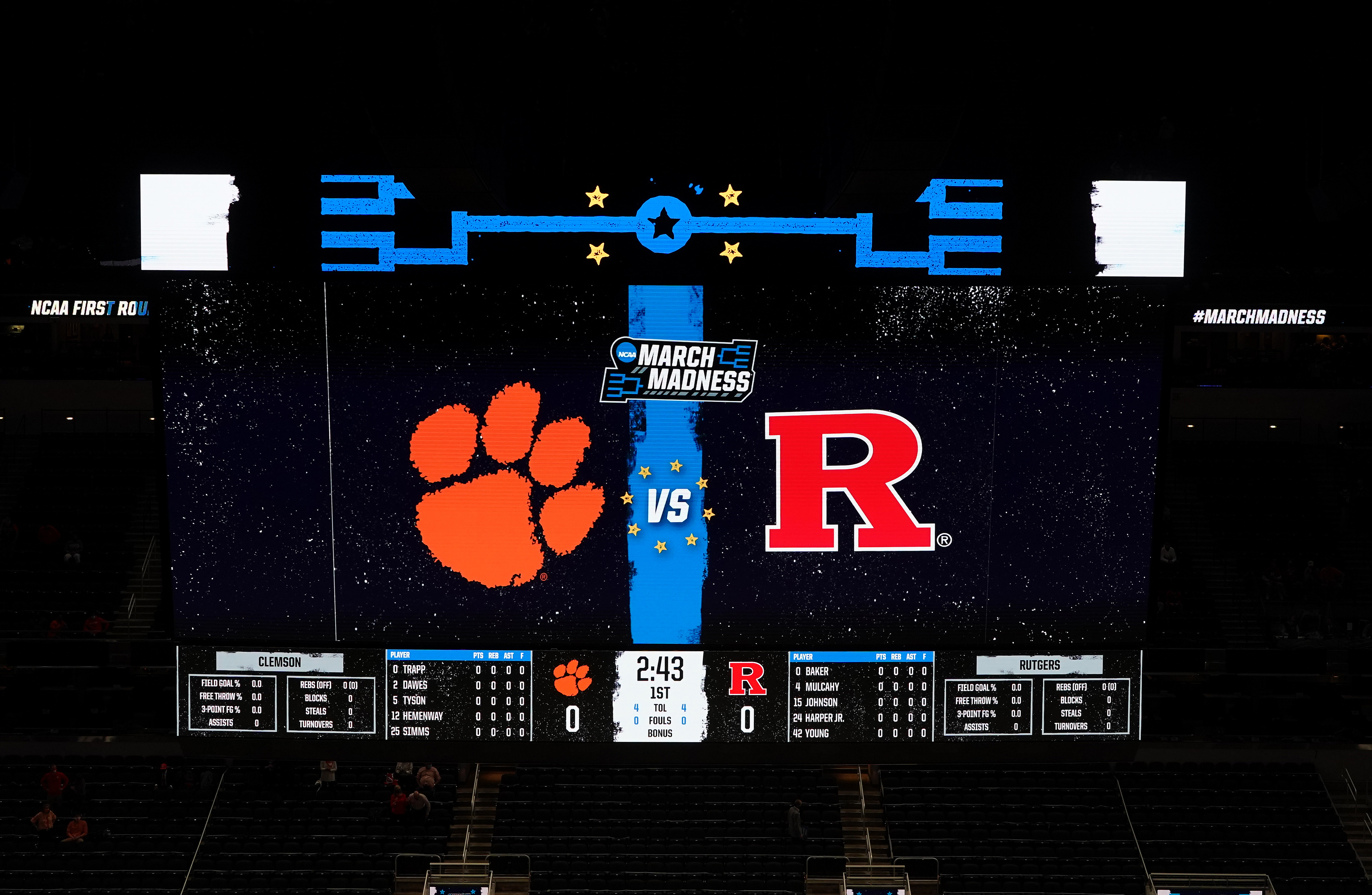 Mar 19, 2021; Indianapolis, Indiana, USA; A detailed view of the scoreboard before the game between the Rutgers Scarlet Knights and the Clemson Tigers in the first round of the 2021 NCAA Tournament at Bankers Life Fieldhouse. Mandatory Credit: Kirby Lee-USA TODAY Sports