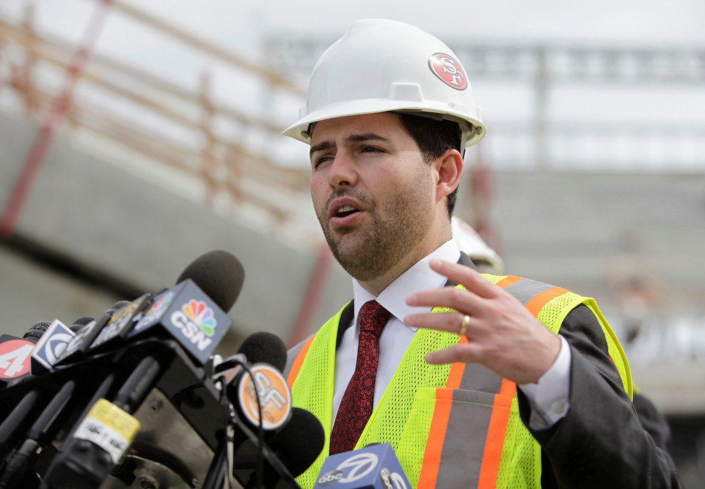 . Jed York, 49ers CEO, speaks during a press conference held by the Super Bowl Host Committee at the construction site of the new 49ers stadium in Santa Clara, Calif. on Wednesday, March 6, 2013. The Super Bowl Host Committee is competing against Miami for the bragging rights of hosting the 50th Super Bowl in 2016.  (Gary Reyes/ Staff)