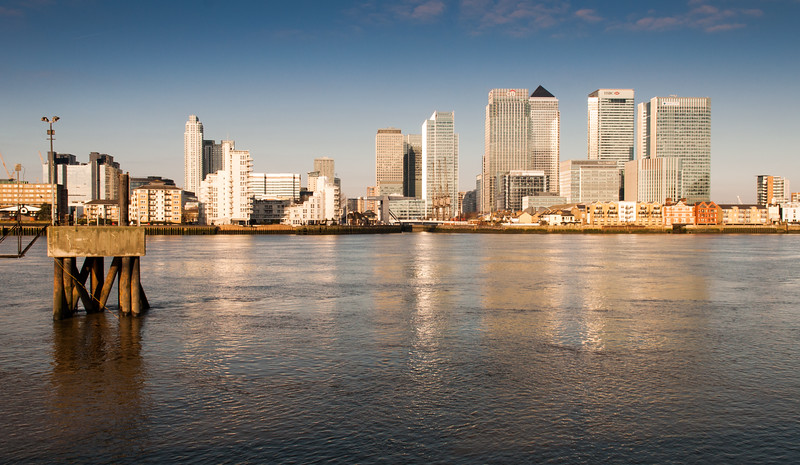 Morning light on London's Docklands skyline