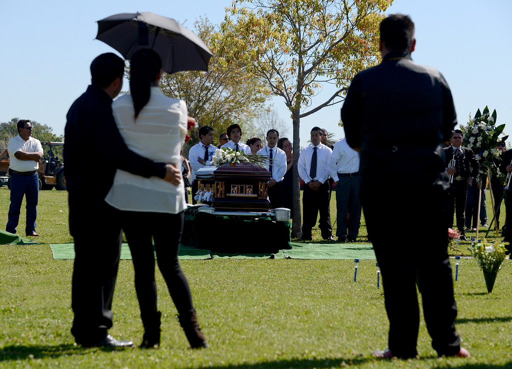. Funeral services for Ivan Arturo Aguilar Thursday, March 14, 2013, at Oakdale Memorial Park in Glendora. Aguilar was hit and killed by a car while riding his bike on campus at Cal Poly Pomona in Pomona. Jennifer Cappuccio Maher/Staff Photographer