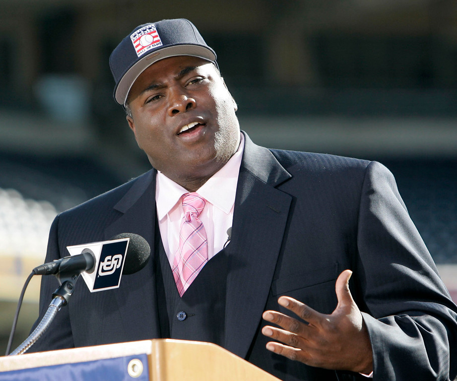 . Former San Diego Padre Tony Gwynn talks about his election to the National Baseball Hall Of Fame  in San Diego Tuesday, Jan. 9, 2007.  (AP Photo/Lenny Ignelzi)
