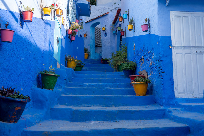 Stairway in Chefchaouen, Morocco