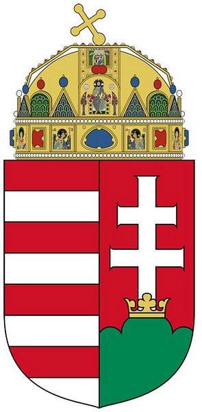 105-Hungarian Coat of Arms adopted 1990. Based on an earlier version established during the reign of King Matthias II of Hungary at the beginning of the 17th century. (Wikipedia)