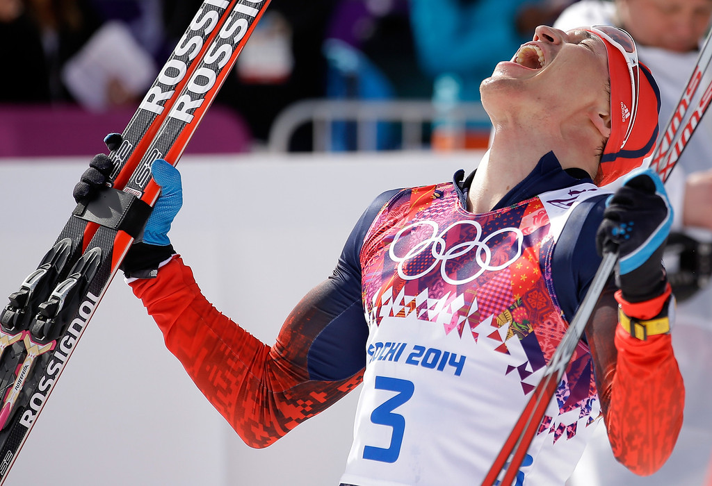 . Gold medalist Alexander Legkov of Russia reacts after finishing in the Men\'s 50 km Mass Start Free during day 16 of the Sochi 2014 Winter Olympics at Laura Cross-country Ski & Biathlon Center on February 23, 2014 in Sochi, Russia.  (Photo by Ezra Shaw/Getty Images)