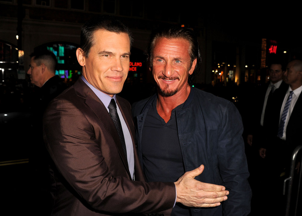 """. Actors Josh Brolin and Sean Penn arrive at Warner Bros. Pictures\' \""""Gangster Squad\"""" premiere at Grauman\'s Chinese Theatre on January 7, 2013 in Hollywood, California.  (Photo by Kevin Winter/Getty Images)"""