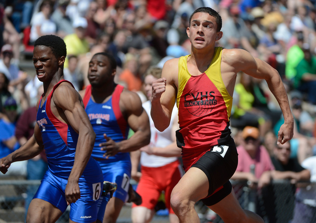 . LITTLETON, CO. - APRIL 27TH:  Tanner Townsend, right, Castle View High School, and Jai\'shawn Thompson, Fountain Fort Carson High School, battle each other during the boys 100 meter dash at the Liberty Bell Track Meet at Littleton Public Schools Stadium Saturday, April 27th, 2013. Thompson edged out Townsend for the win. (Photo By Andy Cross/The Denver Post)