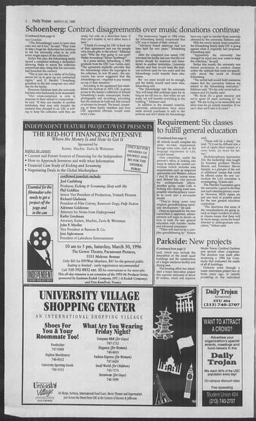 Daily Trojan, Vol. 127, No. 42, March 22, 1996