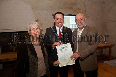 Mayor Mickey Ruane is pictured with Joyce Gibson and Stuart Pollard at the launch of U3A Educaton pack at Newry and Mourne Museum. R1410010