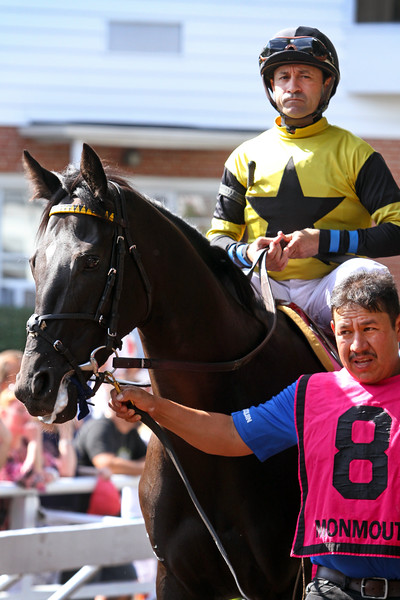 Berned (Bernardini) and jockey Joe Bravo win the Molly Pitcher (Gr III) at Monmouth Racetrack 7/29/18. Trainer: Graham Motion. Owner: Robert Masiello & West Point Thoroughbreds Inc.