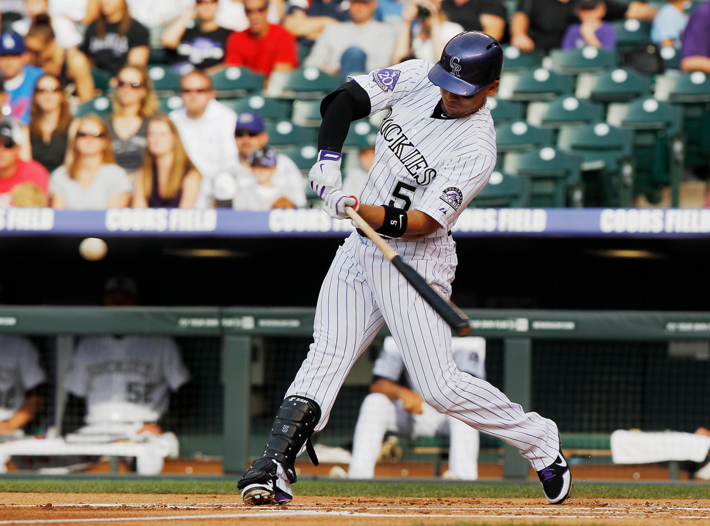 . Colorado Rockies\' Carlos Gonzalez connects for an RBI-double against the Los Angeles Dodgers in the first inning of a baseball game in Denver, Thursday, July 4, 2013. (AP Photo/David Zalubowski)