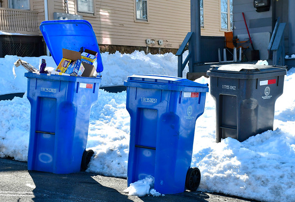 3/5/2019 Mike Orazzi | Staff Recycling bins on Hull Street in Bristol Tuesday.
