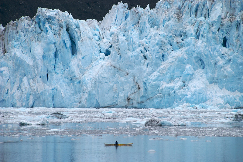 a sea kayaker is looks out at the massive Barry glacier in the Prince William Sound, AK.