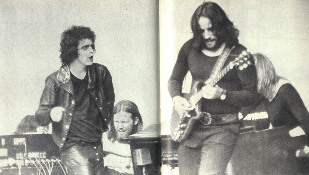 . Dick Wagner plays guitar with Lou Reed (left) at the Crystal Palace in the 1973 Rock n Roll Animal Tour.