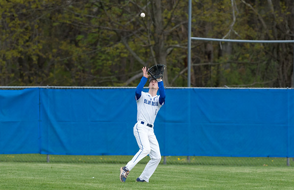 05/02/19 Wesley Bunnell | Staff Plainville baseball defeated Maloney at home on Thursday afternoon. OF Wyatt Lacombe catches a fly ball.