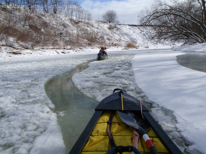 "SS Icebreaker ""James"" is clearing a canoe Width path. An in-auspicious start to our paddle."