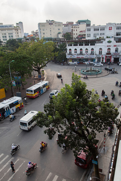 A typical avenue in Hanoi - taken from a restaurant/bar at the north end of Hoan Kiem Lake.