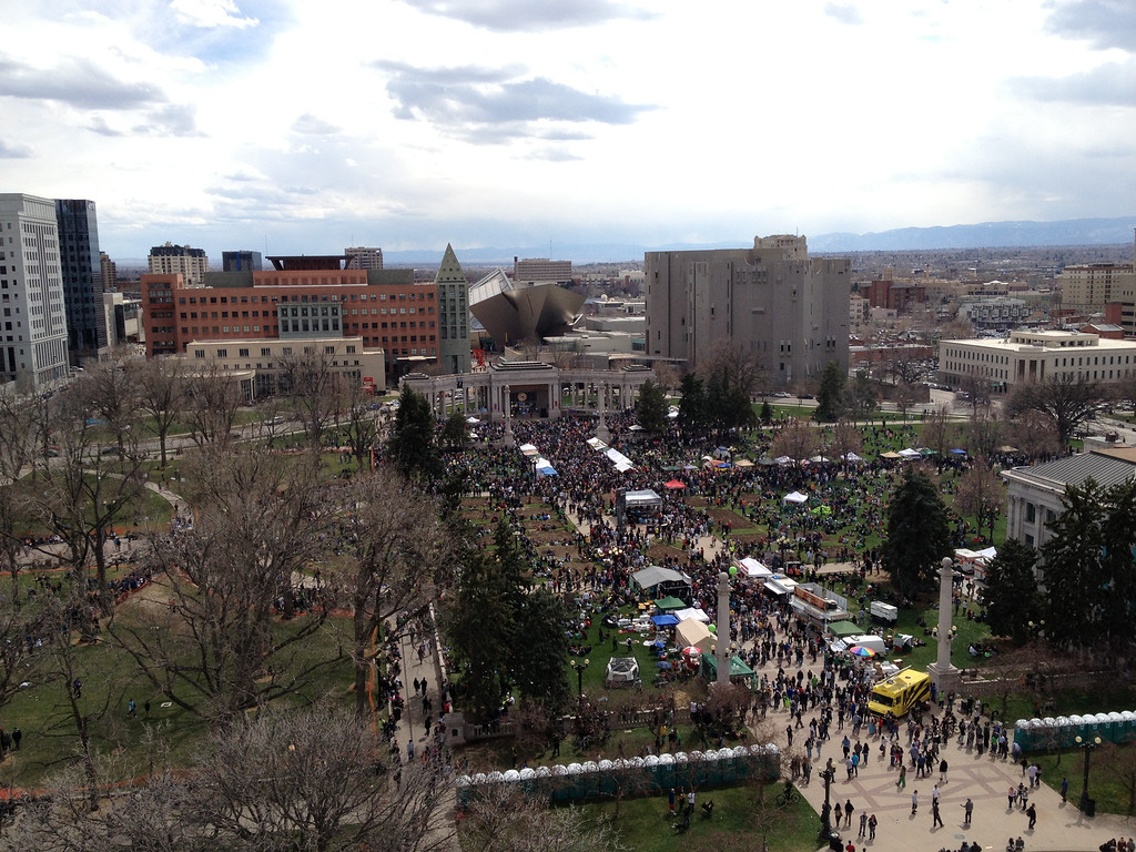 . Gearing up for the 420 Rally at Denver\'s Civic Center Park. (Joe Amon/The Denver Post)
