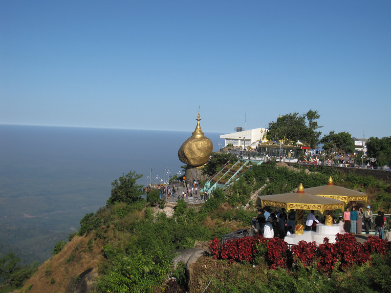The Golden Rock and surrounding countryside on Mount Kyaiktiyo in Burma.