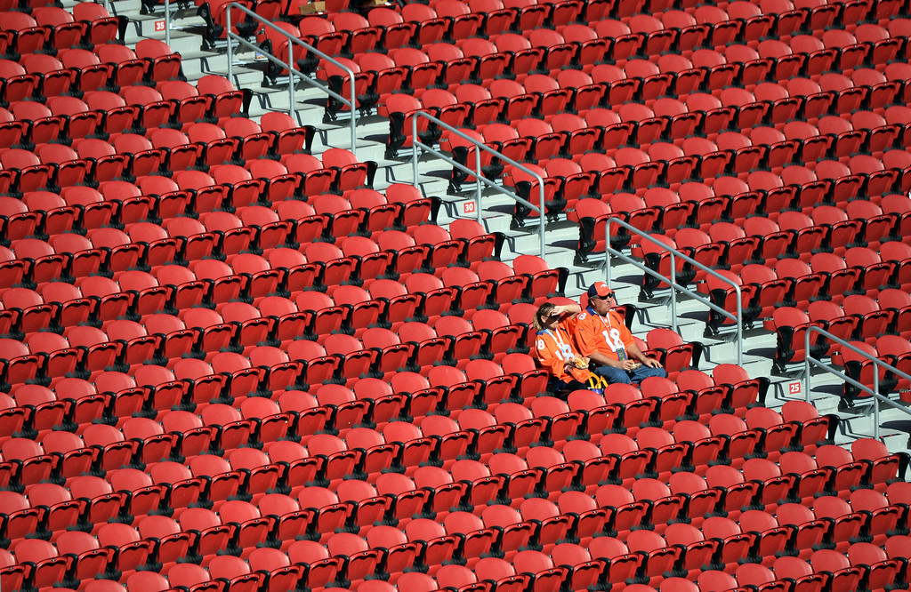 . SANTA CLARA, CA - FEBRUARY 7: Broncos fans arrive early and wait in their seats prior to the start of the game.  The Denver Broncos played the Carolina Panthers in Super Bowl 50 at Levi\'s Stadium in Santa Clara, California on February 7, 2016. (Photo by RJ Sangosti/The Denver Post)